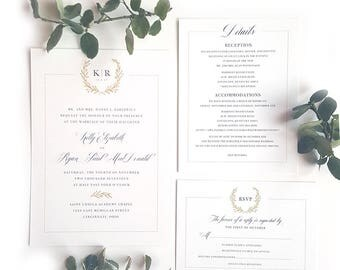 Monogram Wedding Invitation, Gold Monogram, Classic Wedding Invitation, Laurel Wreath, Gold and Black
