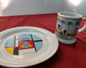 Vintage 80's Universal Studios Hollywood California plate and mug