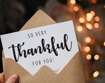 So very thankful for you, romantic Thanksgiving eCard, digital download, print ready