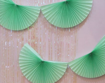 Mint Paper Fan Garland 10ft - honeycomb decor tissue fan bunting - Photo Backdrop green wedding boy baby shower first birthday wall decor