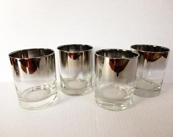 Silver Fade Ombre Barware Glassware, Cocktail Rocks Glasses Ice Vitreon Queen's Lustreware, Mid Century Modern MCM, Dorothy Thorpe Mad Men