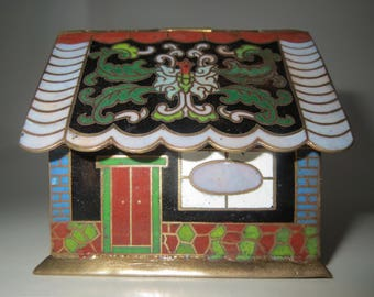 "3"" Vintage Mini House Cottage Cloisonne Hinged Box Brass Enamel"