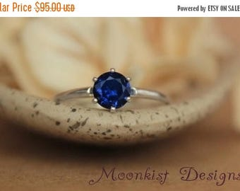 ON SALE Size 8 - Ready To Ship - Blue Sapphire Solitaire Ring In Sterling Silver - Engagement Ring - September Birthstone - Gift For Her