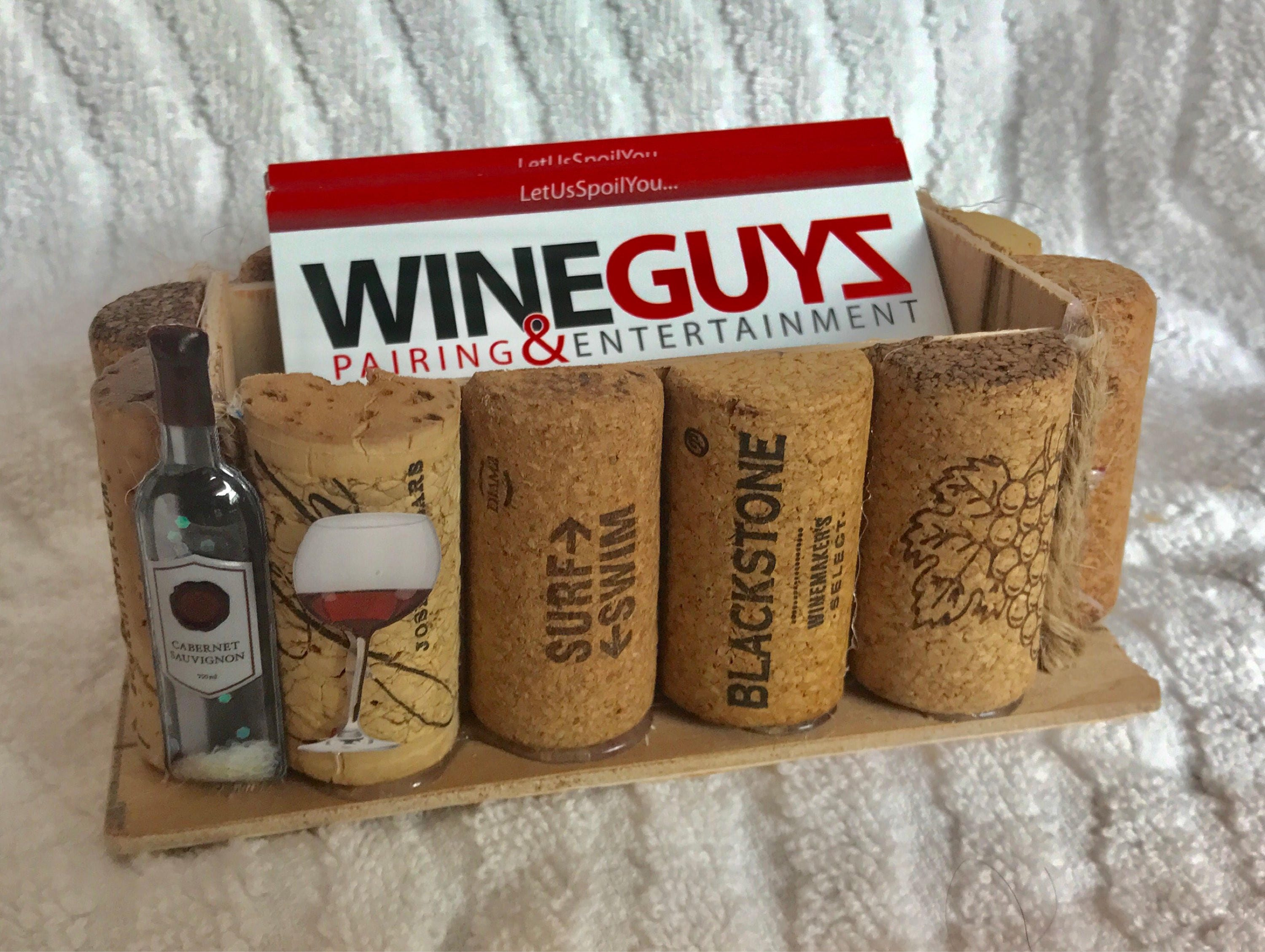 wine theme business card holder