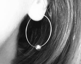 Silver ball hoop earrings, silver hoops, minimalist earrings, small silver hoops, hoop earrings, 1 PAIR