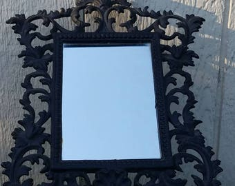 Early 1900s Victorian style cast iron table mirror