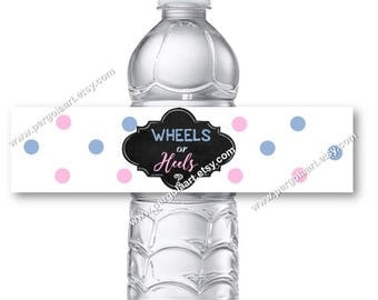 Wheels or Heels Gender Reveal Water Bottle Labels - Gender Reveal Decorations - Gender Reveal Ideas - Gender Reveal Party -  Instant DIY