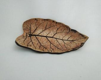 handmade ceramic pottery Autumn leaf plate with Iridescent Iron food safe glaze