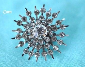 Coro Rhinestone Brooch, Coro Brooch, Old Brooch, Coro Jewelry, Vintage Brooch, Small Brooch, Rhinestone Pin, Coro Pin, Clear Brooch GS936