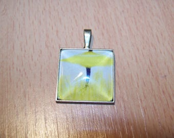 square 25mm bronze cabochon pendant