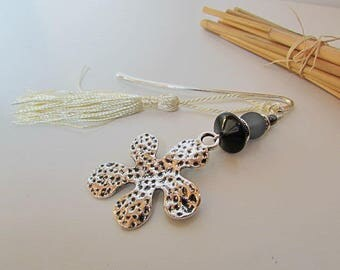 Bookmark in silver black glass Pearl - tassel - 136 clover leaf