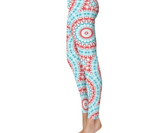 Womens Leggings Yoga - Gypsy Boho Turquoise Blue and Red Printed Mandala Art Pants, Bohemian Leggings, Pattern Tights, Yoga Pants