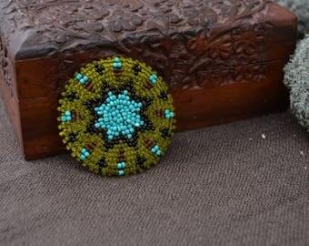 Arapaho beaded Medallion Native American, Turquoise yellow Beadwork, Tribal ATS belt, Tribal fusion, Native American Regalia, Beaded brooch