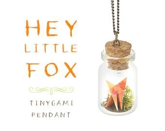 Hey Little Fox Origami Pendant
