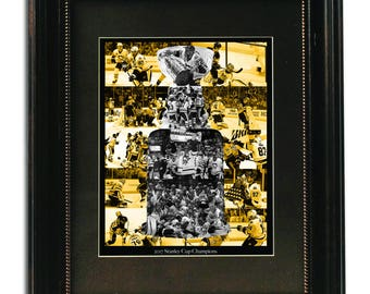 Pittsburgh Penguins, Art Collage, Stanley Cup, NHL, Limited Edition, 11x14 Print