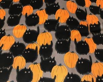 Belinda's big kitty black cat Halloween fabric, cat fabric, pumpkin fabric, Halloween night, Alexander Henry