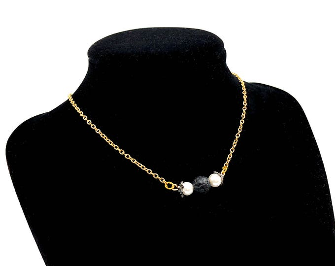 SARAH: lava bead and faux pearl dainty gold necklace