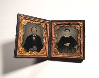 Double Ambrotype of an Older Couple, 19th Century Antique Photos in Full Case