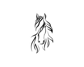 Pretty horse head download, unique equestrian svg, dxf, eps, ai, png, instant download, equine, tribal horse, running horse head download
