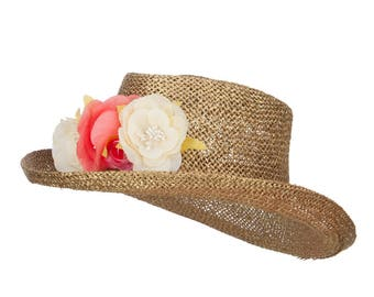 Flower Trim Straw Gambler Hat