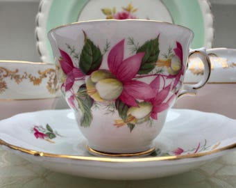 Charmingly Pretty Fuchsia Vintage Royal Vale Teacup and Saucer
