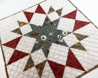 Quilted Table Topper, Square Table Topper, Square Table Runner, Table Centerpiece,  House Warming Gift, Elegant Country Décor, Cabin Décor