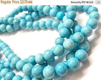 40% OFF Just Because Baby Blue Magnesite 8mm Round Natural Gemstone Beads, Blue magnesite, Blue Turquoise, 8mm Beads, Blue Beads, 8mm Round