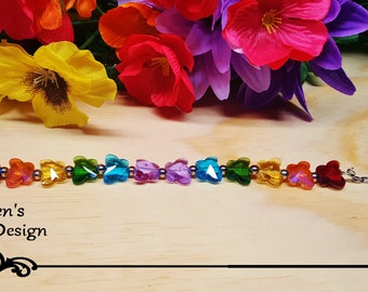 Rainbow of Spring crystal butterflies beaded bracelet