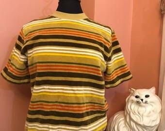 Vintage 60s, Hartog of California, Surfer Stripe, Velour Shirt, Skater Shirt, Leisure, S (B044)