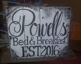 Bed and Breakfast family business pallet sign, rustic wood B&B sign, family name pallet art, custom pallet sign
