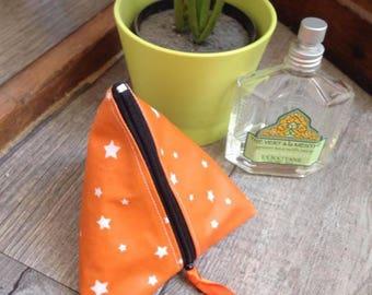 "Kit shaped box made of cotton ""orange and stars"""