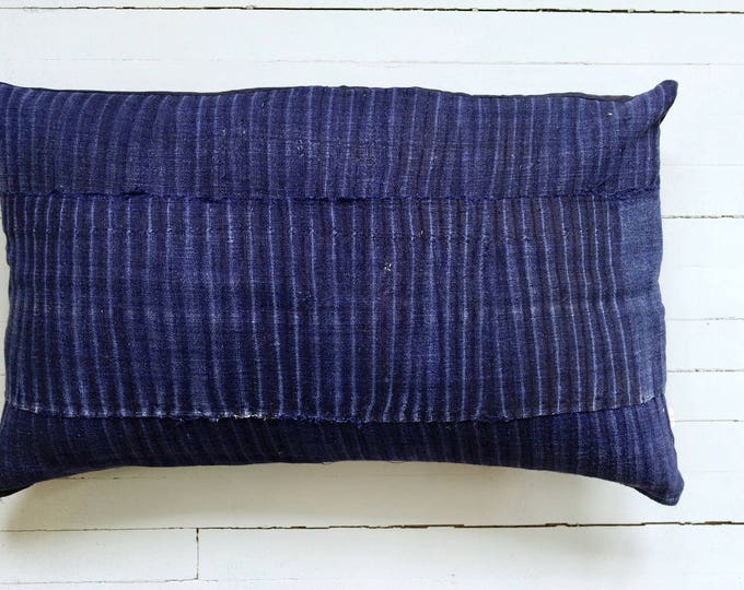 "Vintage Japanese indigo fabric pillow 16"" x 26"""