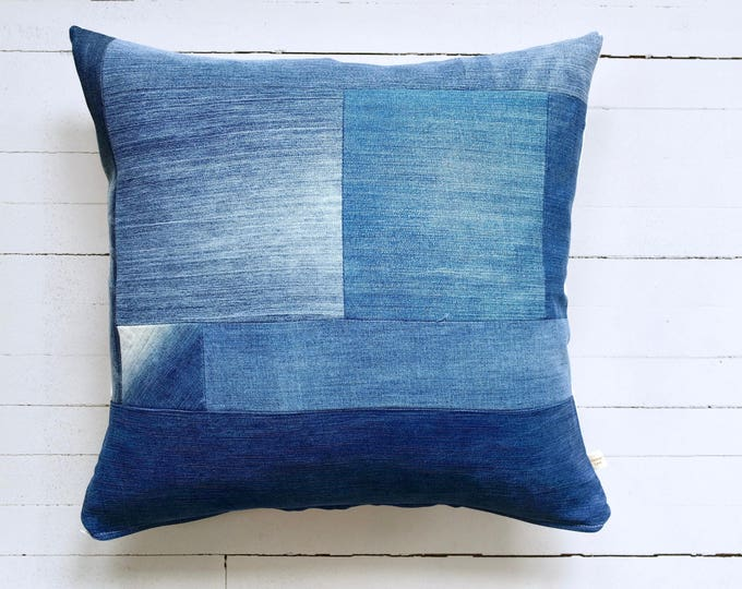 "Vintage Denim Patchwork with Blue, Yellow and White Stripes Fabric Pillow 20"" x 20"""