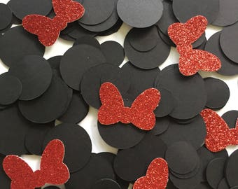 Minnie Mouse Birthday Party / Minnie Mouse Confetti / Minnie Mouse / Table Confetti / Table Scatter / Red Glitter Confetti /Glitter Confetti