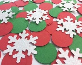 Christmas Confetti / Christmas Party Decor / Winter Wonderland Confetti / Winter Wonderland Confetti / Red Confetti / Green Confetti