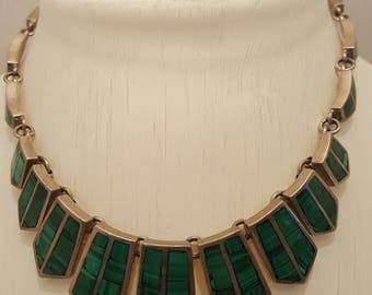 Vintage Malachite and Silver Necklace
