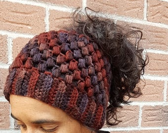 Messy bun hat, crochet ponytail hat, winter fashion beanie, top bun toque, knit runners hat, rainbow cap