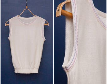 60s 70s Vest Ivory Pullover Vest Womens Small Pastel Lilac Sleeveless Sweater Knitted Sleeveless Summer Top Off White Sleeveless Pullover S