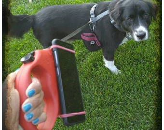 Dog leash phone holder. Handsfree phone holder. Attach to your retractable dog leash! Use for multitasking and Arthritis relief. Puppy gifts