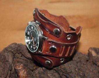 Mens wrist watch, Steampunk mens watch, Mens Watch Leather,Leather Watch, Cuff steampunk watch, Mens sport watch, Leather cuff wrist watch
