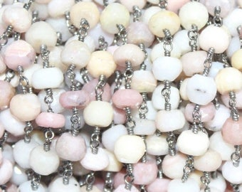 FLAT 50% OFF 10Feet Faceted Natural Pink Opal Wire Wrapped Beaded Chain 3-3.5 mm, Pink Opal Wire Wrapped Rosary Chain