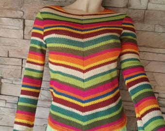 Long sleeve boho sweater/70s hippie fashion/colorful knit top/