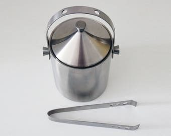 Stainless steel ice bucket with tongs - Stellar