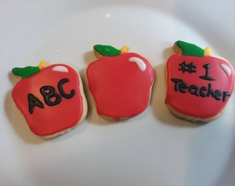 Apple Shape Sugar Cookies - Back to School - Teacher Appreciation - Kindergarten - School - Fall - Autumn - Homemade Cookies