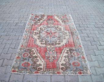Turkish Rug 4.0x6.10 Feet 210x124 Cm Turkish Handwoven Carpet Rug Carpet Rug Overdyed Anatolia Vintage Overdyed Rug