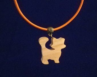 orange cat made of cherry wood and leather pendant