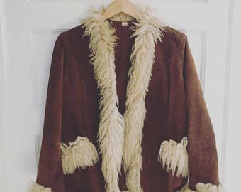 Shearling Afgahn and Suede Coat size medium
