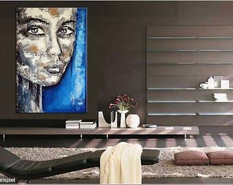 Portrait XXL Black & White Blue large contemporary art handpainted  texture contemporary painting large wall art canvas