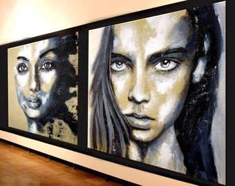 Portrait black & white XXL exclusive gallery art woman face eyes painting original unique modern art figurative