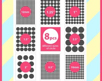 Bundle 8 sizes circle template, 1.5 inch, 12 mm, 1.25 inch, 1 inch, 2 inch, 2.5 inch, 0.5 inch, 16mm Circle PSD, PNG, SVG, Dxf Formats, 156